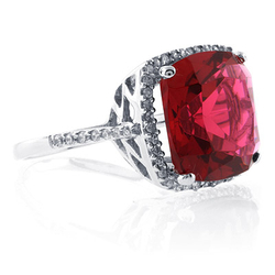 Sterling Silver Cushion Cut Pink Garnet Ring