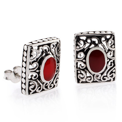 Authentic Red Coral Vintage Style Sterling Silver Earrings