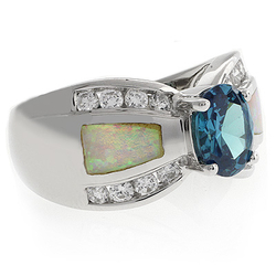 White Opal with Color Changing Alexandrite Silver Ring