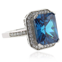 Emerald Cut Blue Topaz 925 Sterling Silver Ring