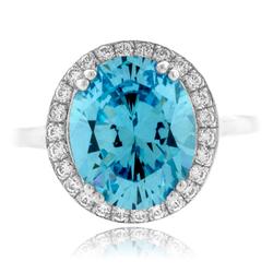 Blue Topaz Oval Cut Silver Ring
