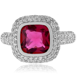 Cushion Cut Pink Tourmaline Ring in Sterling Silver