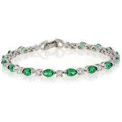 Emerald Silver Gemstone Bracelet