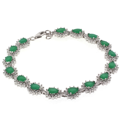 Emerald Silver Bracelet Pear Cut Stone