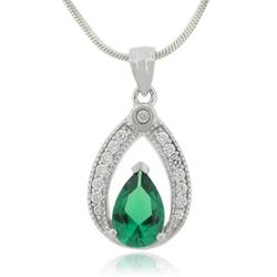 Emerald Charm Silver Pendant