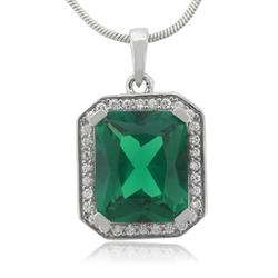 Big Emerald Sterling Silver 925 Pendant