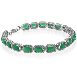 Emerald Cut Emerald Silver Bracelet