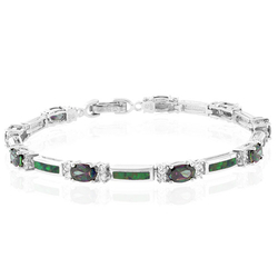 Oval Cut Caribbean Topaz And Green Opal Silver Bracelet