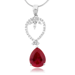 Pear Cut Ruby Micro Pave Pendant