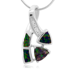 Trillion Cut Topaz And Opal Silver Pendant