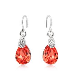 18K Gold Plated Red Drop Swarovski Crystal Earrings
