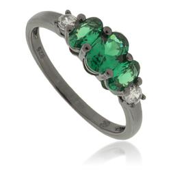 3 Oval-Cut Emerald .925 Oxidized Silver Ring