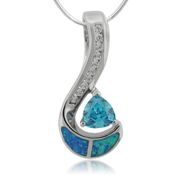 Trillion Cut Smoked Blue Topaz and Opal Sterling Silver Pendant