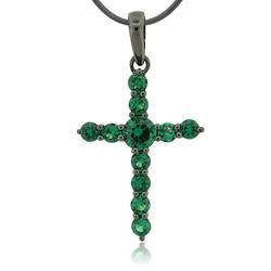 Emerald Cross Sterling Silver Pendant