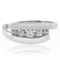 5 Stone Engagement .925 Silver Ring