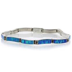 Blue Australian Opal .950 Silver Bracelet