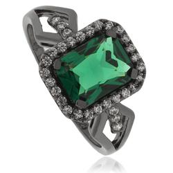 Beautiful Emerald .925 Black Silver Ring