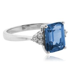 Emerald Cut Blue Topaz .925 Silver Ring