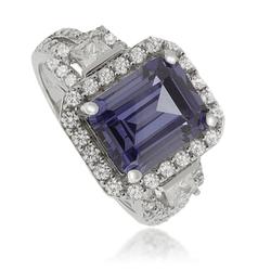 Emerald-Cut Tanzanite Ring in .925 Silver