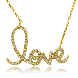 Gold Plated Love Sterling Silver Pendant