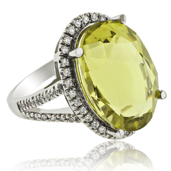 Gorgeous Oval Cut Natural Citrine 14K White Gold Ring