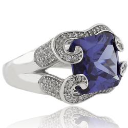 Huge Emerald Cut Tanzanite Sterling Silver Ring