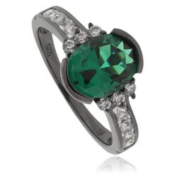 Oval-Cut Emerald .925 Oxidized Silver Ring