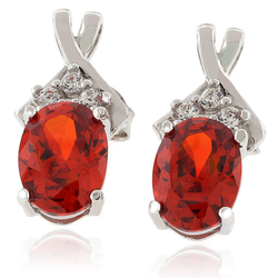 Oval Cut Mexican Cherry Opal .925 Silver Earrings