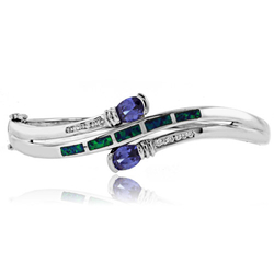 Oval Cut Tanzanite Stones and Australian Opal .925 Silver Bangle