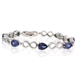 Pear Cut ( Blue/Purple) Alexandrite Infinity Silver Bracelet