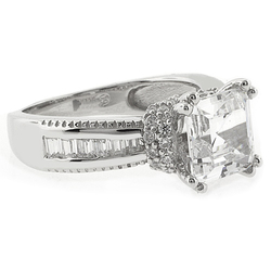 Princess Cut Simulated Diamond Silver Ring