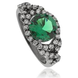 Round-Cut Emerald .925 Black Silver Ring
