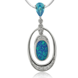 Oval Cut Blue Topaz and Oval Shape Blue Opal  Sterling Silver Pendant