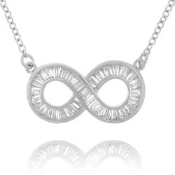 Channel-Set Baguette Infinity Silver Pendant