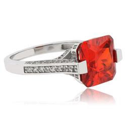 Big Emerald Cut Fire Cherry Opal .925 Silver Ring