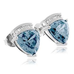 Trillion Cut Aquamarine Sterling Silver Earrings