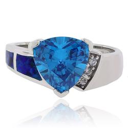 Trillion Cut Blue Topaz and Australian Opal .925 Silver Ring