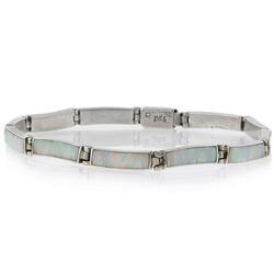 White Australian Opal .950 Silver Bracelet