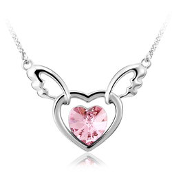 Pink Rhodium Plated Swarovski Crystal Heart Shaped Necklace
