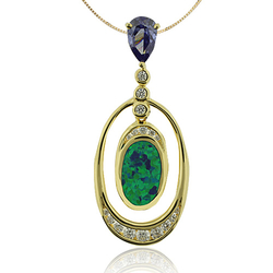 Gold Plated Pendant With Tanzanite in Trillion Cut and Australian Opal