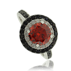 Beautiful Fire Opal Ring in Round Cut with Sterling Silver and Zirconia
