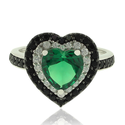 Silver Ring With Emerald Gemstone In Heart Shape and Zirconia