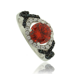 Elegant Fire Opal Ring in Round Cut with Sterling Silver and Zirconia