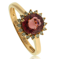 Great 18k Gold Ring With Rubilite Gemstone