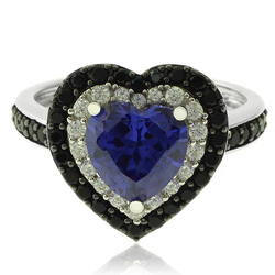 Silver Ring With Tanzanite and Zirconia Gemstones in Heart Shape