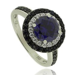 Silver Ring With Round Cut Tanzanite Gemstone