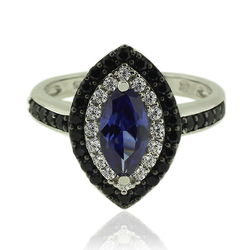 Silver Ring With Marquise Cut Tanzanite Gemstone and Zirconia.