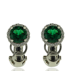 Precious Sterling Silver Earrings With Emerald Gemstones and Zirconia