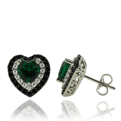 Sterling Silver Earrings With Emerald Gemstones In Heart Shape