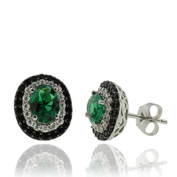 Sterling Silver Earrings With Emerald Gemstones in Oval Cut